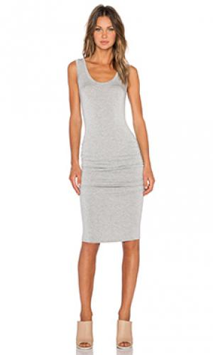 Платье со складками frankie LA Made. Цвет: серый