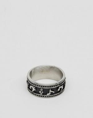 Seven London Серебристое кольцо с отделкой в виде музыкальных нот. Цвет: серебряный