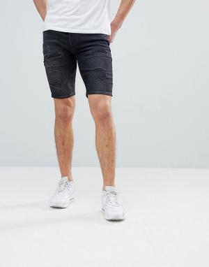 River Island Черные рваные джинсовые шорты. Цвет: синий
