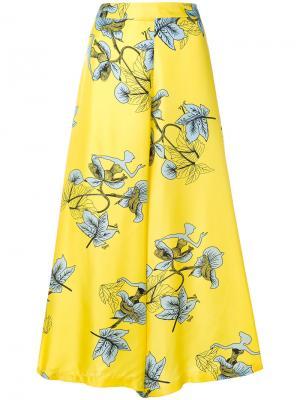 Укороченные широкие брюки с растительным принтом Vivetta. Цвет: розовый и фиолетовый