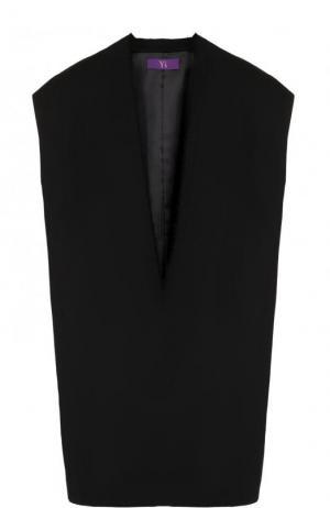 Однотонный шерстяной жилет свободного кроя Yohji Yamamoto. Цвет: черный