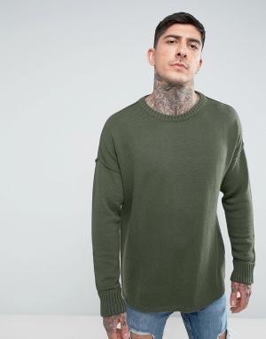 Another Influence Трикотажный джемпер с заниженной линией плеч. Цвет: зеленый
