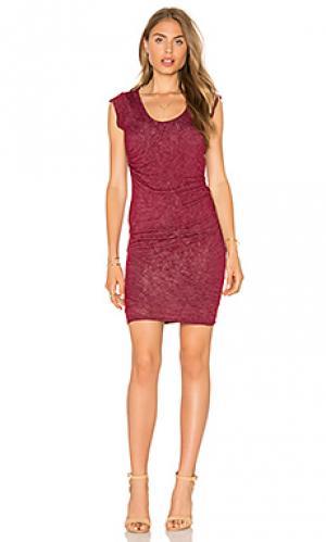 Платье-рубашка с овальным вырезом abena Velvet by Graham & Spencer. Цвет: вишня