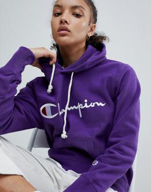 Champion Худи с логотипом на груди. Цвет: фиолетовый