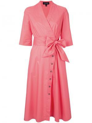 Платье-рубашка с запахом Saloni. Цвет: розовый и фиолетовый