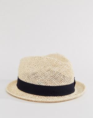 Catarzi Соломенная шляпа с черной тесьмой. Цвет: бежевый