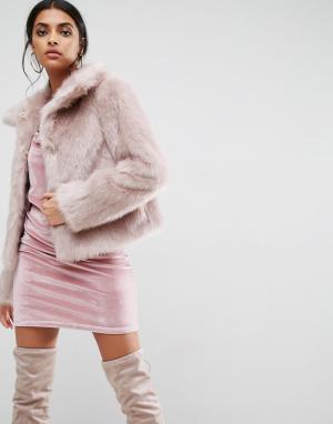 ASOS Шуба из искусственного меха в винтажном стиле. Цвет: розовый