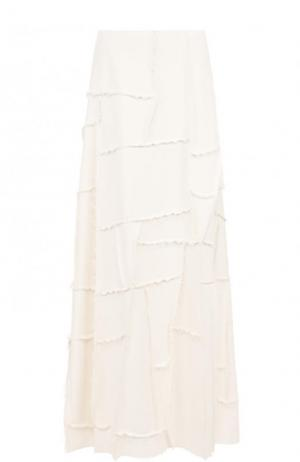 Однотонная юбка-макси из вискозы The Row. Цвет: бежевый