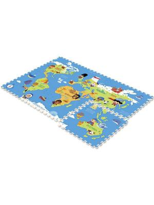 Коврик -пазл Карта мира 180*120*2 Mambobaby. Цвет: голубой, оранжевый