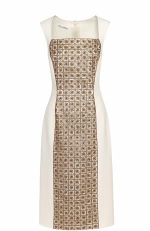 Приталенное платье с контрастной вышивкой бисером и пайетками Oscar de la Renta. Цвет: золотой