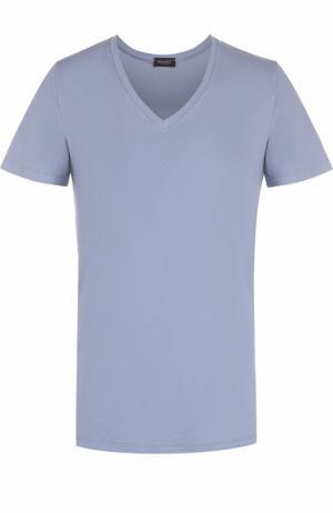 Хлопковая футболка с V-образным вырезом Hanro. Цвет: серый