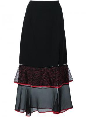 Прозрачная юбка с баской Jonathan Simkhai. Цвет: чёрный