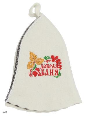 Шапка для бани с вышивкой в косметичке Добрая баня Метиз. Цвет: серый, белый