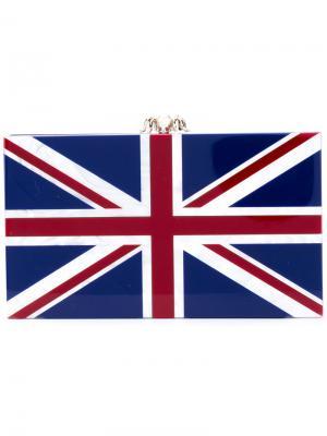 Клатч с расцветкой Английского флага Charlotte Olympia. Цвет: синий