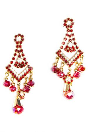 Earrings BELLA ROSA. Цвет: red, gold