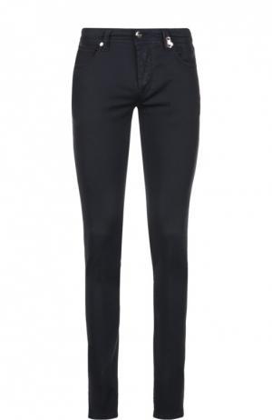Зауженные брюки из эластичного хлопка Sartoria Tramarossa. Цвет: темно-синий