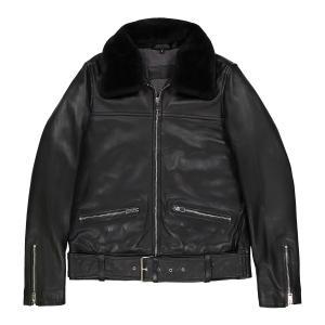 Блузон кожаный на молнии KART OAKWOOD. Цвет: черный
