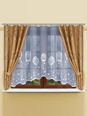 Комплект штор Haft. Цвет: коричневый, белый