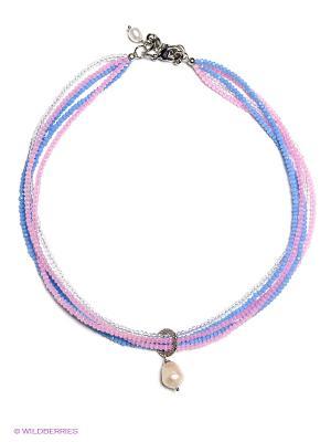 Ожерелье Polina Selezneva. Цвет: голубой, прозрачный, розовый, белый