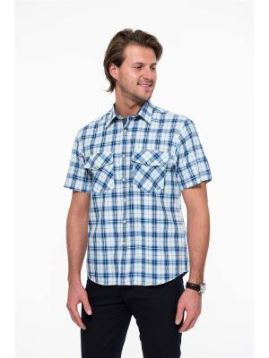 Рубашка Westrenger. Цвет: светло-голубой, белый