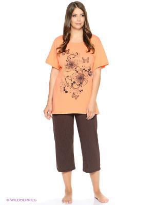 Комплект домашней одежды HomeLike. Цвет: коричневый, оранжевый