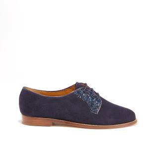 Ботинки-дерби из замшевой кожи и блестками BOBBIES. Цвет: синий морской