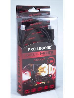 Кабель HDMI (M) - (M), 1 m, Pro Legend [HDF1], ver 1.4, плоский. Цвет: черный