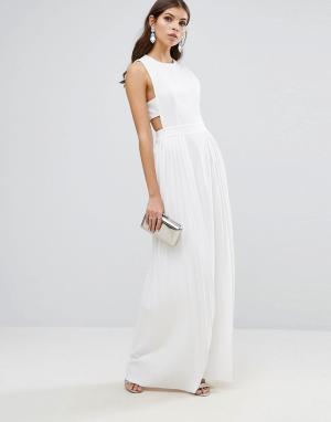 ASOS Плиссированное платье-накидка макси. Цвет: белый