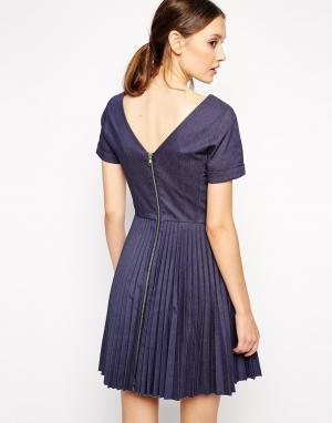 Antipodium Платье со складками на молнии сзади. Цвет: indigo - индиго