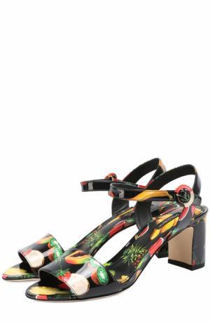 Комбинированные босоножки с принтом на устойчивом каблуке Dolce & Gabbana. Цвет: черный