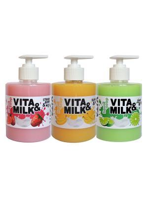 Жидкое мыло в наборе, ароматы: Банан, Клубника, Лайм VITA-MILK. Цвет: салатовый, желтый, розовый