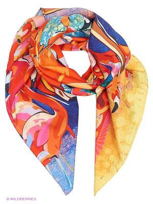 Арт-платок Фламинго, берег Оланж Ассорти. Цвет: оранжевый