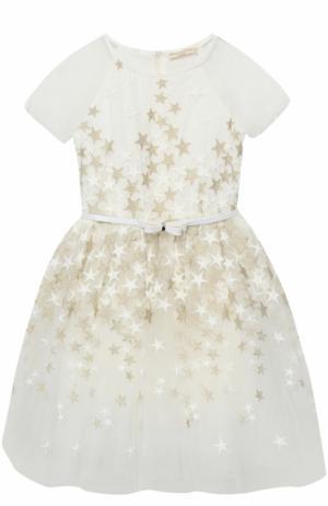 Платье с пышной юбкой и вышивкой в виде звезд Monnalisa. Цвет: белый