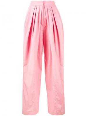 Широкие брюки с плиссировкой Vika Gazinskaya. Цвет: розовый и фиолетовый