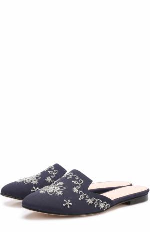 Текстильные сабо с вышивкой Oscar de la Renta. Цвет: темно-синий