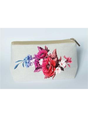 Набор для шитья и вышивания косметички Маковый букет Матренин Посад. Цвет: серый,красный,синий