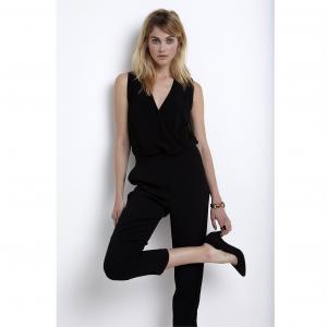 Комбинезон с брюками, V-образный вырез запахом La Redoute Collections. Цвет: черный