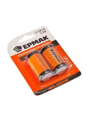 Батарейки 2шт Alkaline щелочная, тип C (LR14), 1,5В Ермак. Цвет: красный