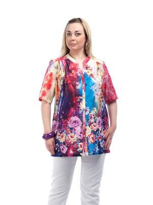 Блуза OLSI. Цвет: красный, желтый, голубой