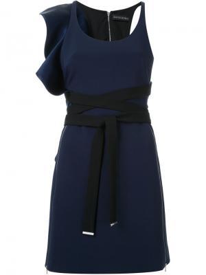 Платье с рюшами David Koma. Цвет: синий