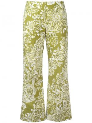 Укороченные брюки с узором Fay. Цвет: зелёный