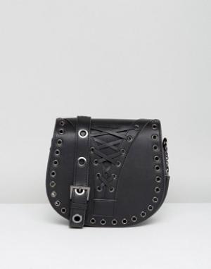 Marc B Черная сумка-седло со шнуровкой. Цвет: черный