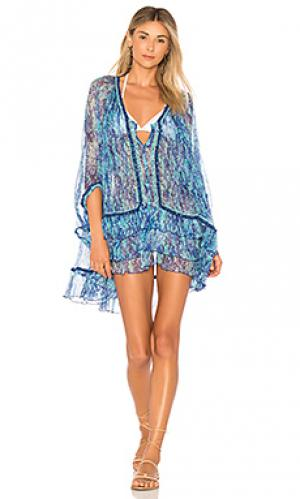 Платье-пончо bety Poupette St Barth. Цвет: синий