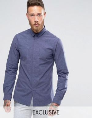 Noak Зауженная рубашка в горошек с небольшим воротничком. Цвет: темно-синий