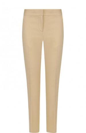 Укороченные хлопковые брюки со стрелками MICHAEL Kors. Цвет: бежевый