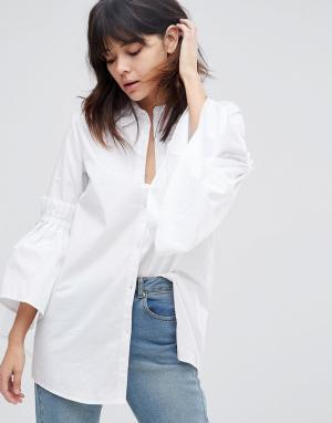 Unique 21 Рубашка с оборками на рукавах Unique21. Цвет: белый