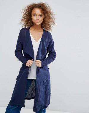 Oeuvre Длинный пиджак с поясом. Цвет: темно-синий