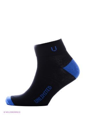 Носки спортивные 5 пар Unlimited. Цвет: черный, синий