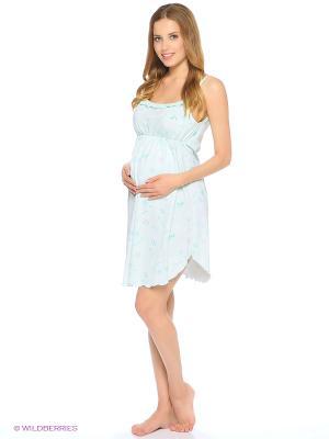 Ночная сорочка для беременных и кормящих FEST. Цвет: зеленый, бирюзовый