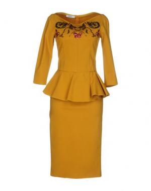 Платье до колена TENAX. Цвет: охра